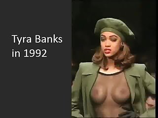 Tyra Banks - 19 yo with visible tits in..