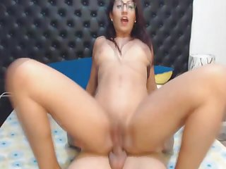 Hot Nerdy Babe Rides Her Horny Boyfriend..