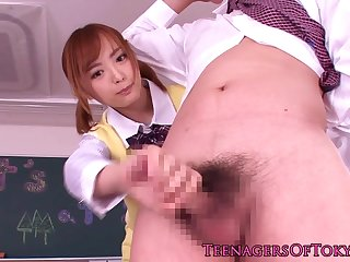 Asian schoolgirl toying her pussy in class