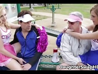 Teen Cheerleaders Dad's Agree To Swap..