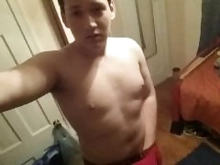 Teen jerks off in his tight underwear