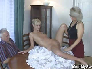 Old couple seduce blonde teen into cock..